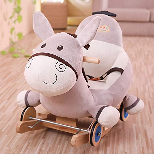 Best Review Of Kibten Creative Little Donkey Baby Rocking Horse Plush Animal Rocker Chair Toddler Ou...