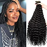 32 Inch Ocean Wave Crochet Hair 6 Packs Ripple Deep Wave Braiding Hair Pre-Feathered King Tips Body Wave Braids Synthetic Hair Extensions for Black Women (32inch-6Packs, 1B)
