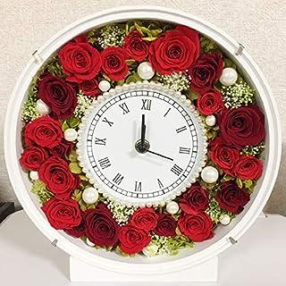 プリザーブドフラワー 花時計 ラウンド 置き時計 お祝い プレゼント ギフト 花 おしゃれ パール afc-p012