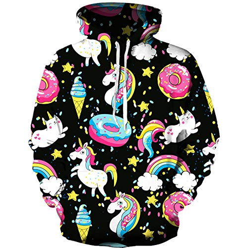 Boys Girls Children'S Clothing Hooded Zipper Round Neck Long Sleeve 3D Printed Color Ice Cream Pattern Sweater Autumn And Winter Sweatshirts Hoodies 155Cm