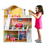Best Choice Products 44-Inch 3-Story Wooden Dollhouse w/ 5 Rooms, Mini Furniture 17 Pieces