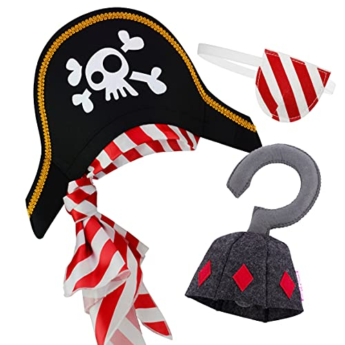Chapeau de Pirate Cache-Oeil Crochet de Pirate pour Les Enfants Costume de Capitaine des Caraïbes