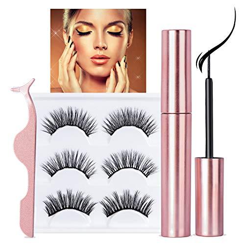 Magnetic Eyelashes eyeliner and Lashes Kit,Eyelashes looks Natural And Reusable Lashes,Use easier,Soft and Comfortable nonirritating [3 Pairs]