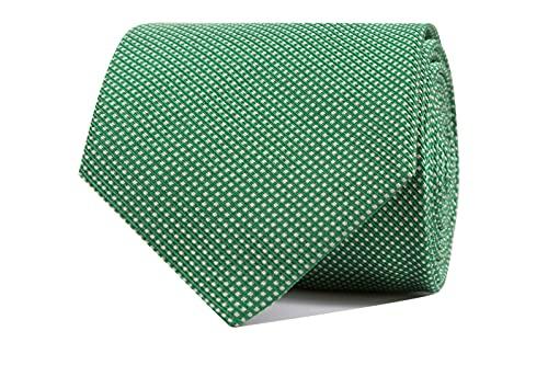 CARLO VISCONTI - Corbata de Hombre - Motivo Ojo de Perdiz - Verde - Tejido Jacquard 100% Seda Natural - Forro de Lana y Algodón - Corbata de Hombre Original - Regalo para Caballeros