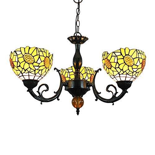 WTTWW Techo de la Sala Luz Lámpara Pendiente de Tiffany Manchado del Estilo de la lámpara de Cristal Amarillo de la Flor de Sun Cortinas de la lámpara 3 Armas de la lámpara de Techo invertido