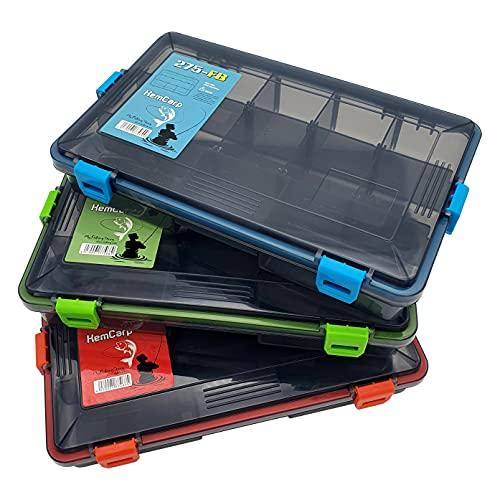Kemcarp Kunststoffbox Angelbox Wobbler Köderbox farbig Angelkoffer Wasserdicht Angelkasten Groß Köder Aufbewarungsbox Angelköder Box Angelgerät Zubehör Tackle-Box Organizer Gitterbox (Blau)