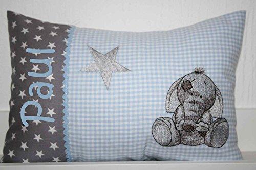 Kissen Elefant Stern mit Namen bestickt und Inlett *3