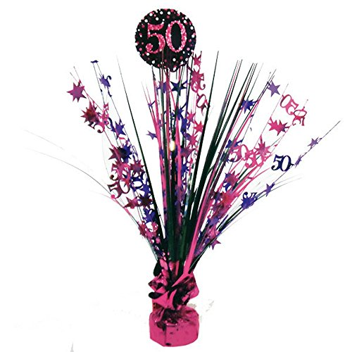 Feste Feiern Geburtstagsdeko 50 Geburtstag | 1 Teil Tischaufsteller Tischkaskade Kaskade Pink Schwarz Violett Party Deko Set Happy Birthday