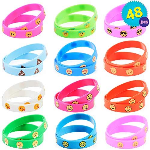 THE TWIDDLERS 48 Pulseras Emoji, muñequeras con diseños y colores variados - Ideal para fiestas de cumpleaños para niños - Perfecto para recuerdos de fiestas, rellenos de calcetines navideños