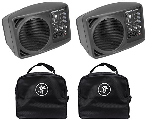 Great Features Of (2) Mackie SRM150 Powered Active PA Monitor Speaker + (2) Mackie Travel Bags