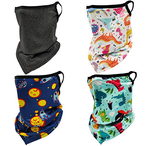 4 Pack Kids Neck Gaiter Face Cover Mask with Ear Loops Children Cooling Summer Sun UV Ski Face Scarf Mask for Girls Boys(4pcs Black+White+Green+Blue)