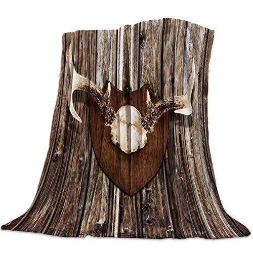 Prime Leader Throw Blanket for Sofa Couch- Antler Trophy 59 x 79 Inche Flannel Bed Blanket Lightweight Microfiber Throw for All Seasons