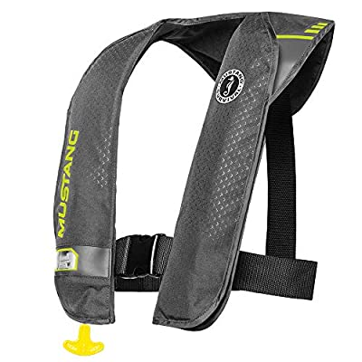MUSTANG SURVIVAL - M.I.T. 100 Auto Activated PFD for Adults (Gray-Fluorescent Yellow Green - One Size Fits All) Co2 Activated Within 10 Seconds After Being immersed in Water, 26 lb. of Buoyancy
