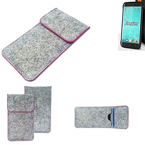 K-S-Trade® Handy Schutz Hülle Für Energizer H550S Schutzhülle Handyhülle Filztasche Pouch Tasche Case Sleeve Filzhülle Hellgrau Pinker Rand