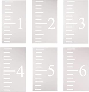 WANDIC Growth Chart Stencil, 6 Pcs Translucent Kids Height Growth Chart Measuring Kids Height Wall Decor for DIY Craft Ruler Recording Kids' Height Growth