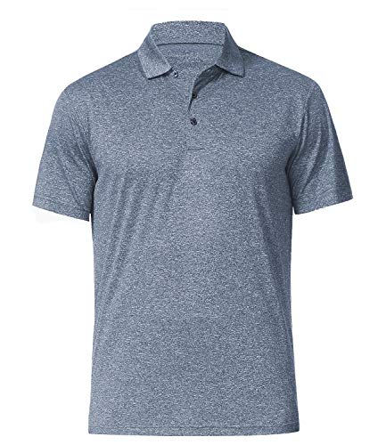 COSSNISS Men's Dry Fit Golf Polo Shirt (L, Pewter)