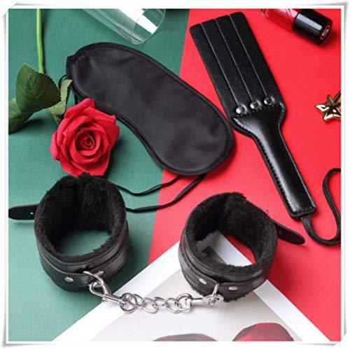 HUSHUS Esposas de Cuero Negro Suave Ajustable Eye Mask-Juego de 3
