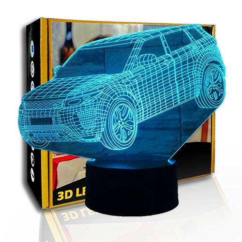 JINYI 3D Nachtlicht Mpv Geländewagen, LED Llusion Lampe, Nachttischlampe, D - Remote Crack White (7 Farbe), Hohe Qualität, Kunsthandwerk, Kunstnachtlampe, Moderne Lampe