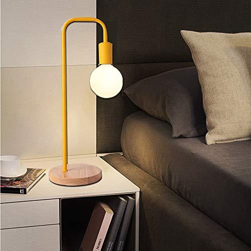 Chao Zan Schreibtischlampe Holz Modern Tischlampe Leselampe Metall Gelb Metallschirm Jugendstil Nachttisch Lampe E27 Fassung Licht Tischleuchte Nachttischlampe Wohnzimmer Büro Studieren Flur