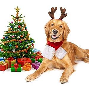Legendog Costume de Noël pour Chien, réglable en Bois de Headwear et écharpe pour Animal Domestique Costume de Noël pour Chiens et Kitty Sweet Cadeau