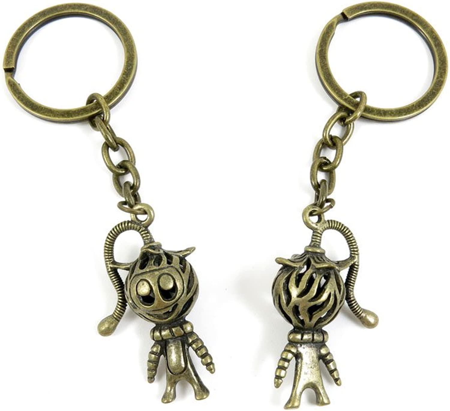 100 PCS Keyrings Keychains Key Ring Chains Tags Jewelry Findings Clasps Buckles Supplies D1WH8 Hollow Clown