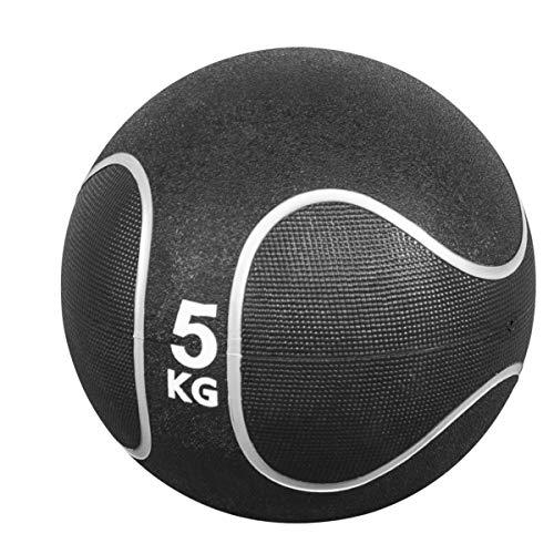 GORILLA SPORTS® Medizinball Gummi 5 kg – Fitnessball Schwarz/Silber