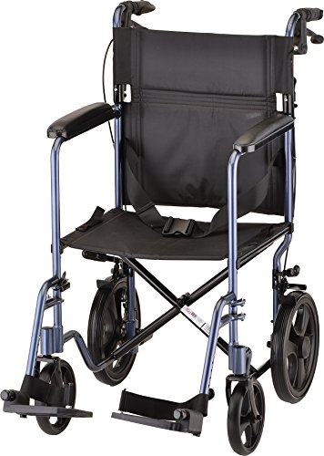 NOVA Medical Products Lightweight Transport Chair with Locking Hand Brakes, Blue