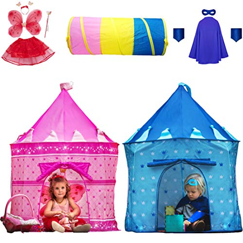 Playz 6-Piece Princess Castle Play Tent with Crawl Tunnel, Butterfly Wings, Tiara Crown, Princess Wand, Tutu Dress Up Costume, and Pink Girls Playhouse Fairy Tale Carrying Case