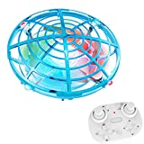 Hand Operated UFO Drones,Ontopon Easy Controlled Small Flying Ball,Gesture Motion Sensor Mini Helicopter Quadcopter, 360 Rotating Induction Fly Saucer Toys for Kids,Adult,Indoor or Outdoor (Blue)