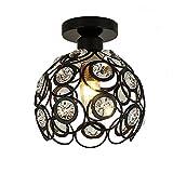Moderno Lámpara de techo de Cristal 20cm Plafón E27 Iluminación Dormitorio Sala de estar Baño Pasillo (Negro)