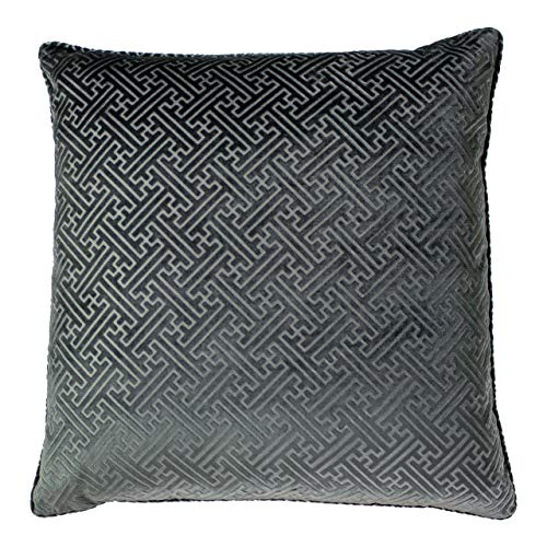 Paoletti Florence Polyester Filled Cushion, Graphite, 55 x 55cm