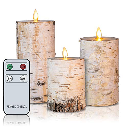 Flameless Candles Moving Flame Led Candles with Remote Set of 3 Real Wax Battery Operated Decorative Candles with Timer