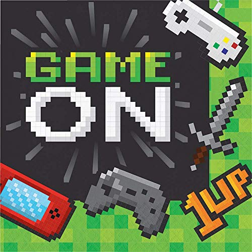 Neu: 16 Servietten * Game ON * für Kindergeburtstag und Motto-Party | LAN Gaming Zocker Zocken Spielen Konsole Pixel Mottoparty Kinder Geburtstag Napkins Partygeschirr