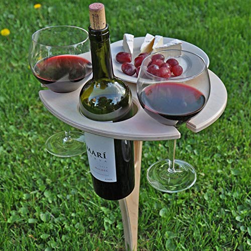 """Wine Table for a Perfect Evening Dinner - 22.5"""" High Wine Picnic Table - Folding Beer Glass Table Crafted with Birch Plywood - Unique Gifts for The Wine Enthusiast - Portable Beach Picnic Table"""