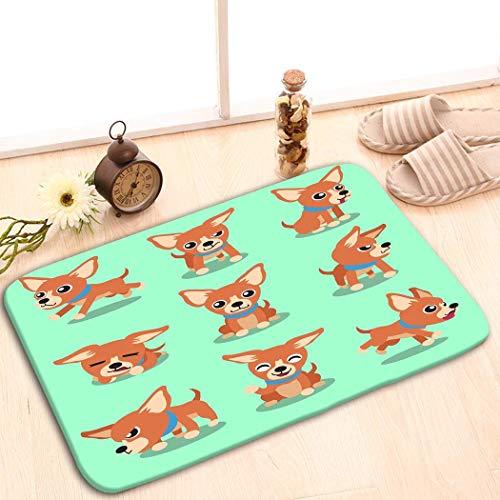 Bikofhd Doormat Non Slip Indoor/Outdoor/Front Door/Bathroom Entrance Mats Rugs Carpet by 23.6x15.7 inch Cartoon Character Brown Chihuahua Dog Poses