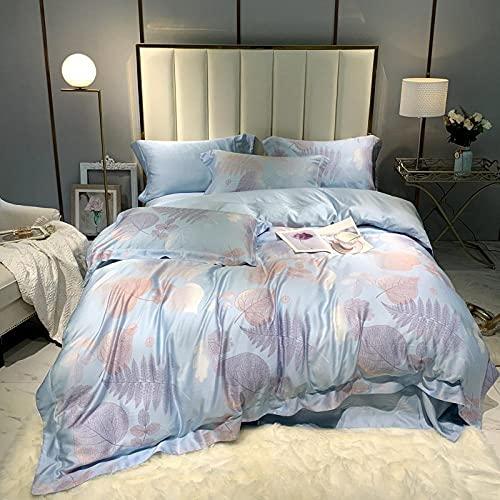 WAlAH Textiles del hogar,High-End 60 Slab 精 天 丝 Four-Piece Double-Sided Ice Silk Ryeier Summer Naked Sleep Bedding Sheets-Chino Anual_Queen: Caso 200 * 230