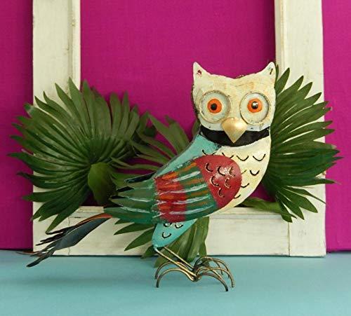 Eule aus Metall Dekofigur Gartendeko Vogel Kauz Uhu Windlicht 25 cm Bunt