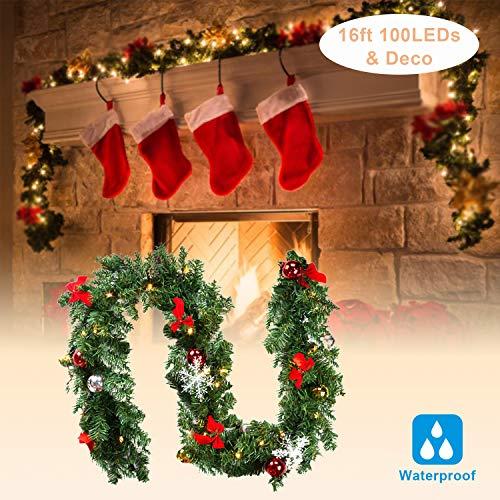 Hengda Weihnachtsgirlande 500cm Warmweiß 100 LEDs, mit Kugeln, Schneeflocken und Rote Schmetterling Knoten für Künstliche Tannen Girlande Dekogirlande Weihnachtsrattan-Girlanden-Weihnachtsverzierung