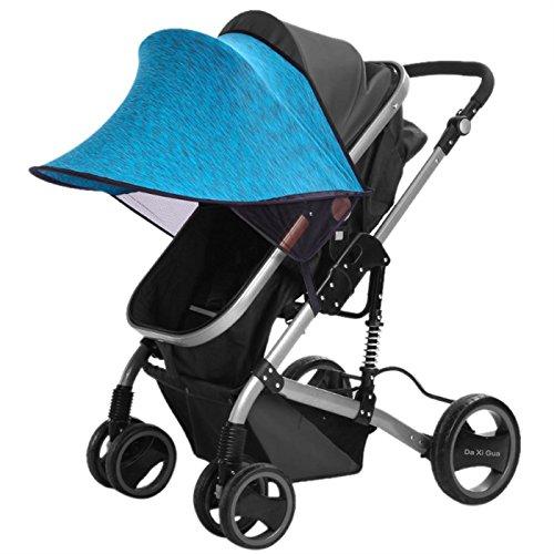 Happy Cherry Portátil Parasol Protector contra Viento Sol Lycra Anti-UV Sombrilla Cobertura Universal para Silla de Paseo Cochecito Carrito de Bebé - Azul