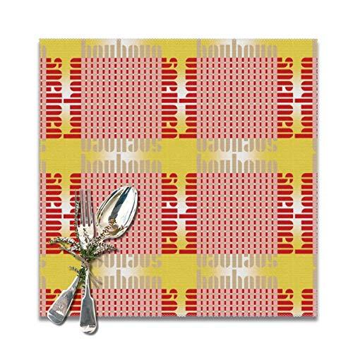 Rasyko Bauhaus Grid Glow Whiteblushredsun - Set di 6 tovagliette all'americana per tavolo da pranzo, lavabili e resistenti al calore