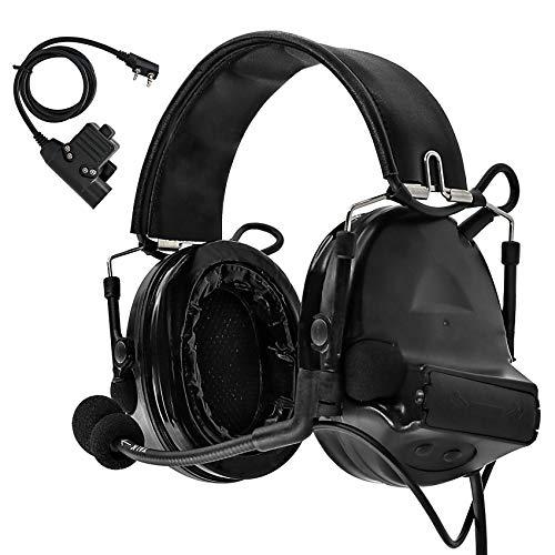 Tac-Sky Comtac II Elektronisches taktisches Headset mit Geräuschunterdrückung, Geräuschunterdrückung, Ohrenschützer und Mikrofon, ideal für Outdoor-Airsoft Sport und Jagd, schwarz