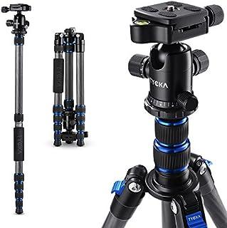 Tycka カーボン製 カメラ三脚 1.3kg超軽量5段 全高148cm 旅行用三脚 一脚可変式 自由雲台付き デジタルカメラ 一眼レフカメラ Canon Nikon Petax Sony Lumix Olympusなど用