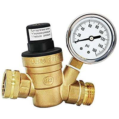 """Water Pressure Regulator Valve for Travel Trail Lead Free 3/4"""" Pressure Regulator Valve Rv Water Pressure Regulator Brass Adjustable with Gauge and Inlet Screened Filter from HQMPC"""