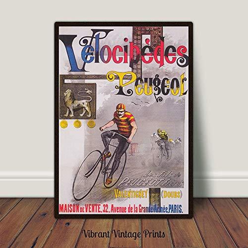 Velocipedes Peugeot Fiets Print Fiets Poster Fiets Vintage Advertentie Poster Art Nouveau Muur Kunst Printable Art Grote Muur Kunst
