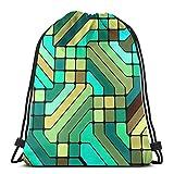 Hangdachang Colorido MosaicColorful Mosaic Sport Natación Yoga Mochila con cordón Mochila Escolar Ligera para Viajes Camping
