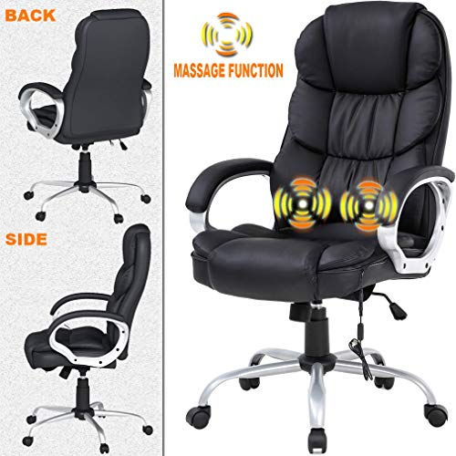Ergonomic Task Desk Computer Chair Home Office Chair, Massage Function Lumbar Support Soft Comfort with Armrest High Back PU Leather Chair Adjustable Rolling Swivel, Nice Chic Best Home Office Chair