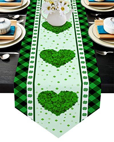 QAZQAZ St Patrick S Day Clover Love Green Plaid Table Runner para el Comedor en casa Mesa de té Zapatero Cubierta del gabinete Bandera de la Mesa Decoración del partido-33x274cm