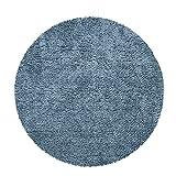 Alfombra Salón Pelo Largo Redonda Shaggy Pelo Largo Mullida Moderna Monocolor, tamaño:80 cm Redon, Color:Azul