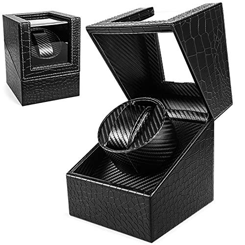 Enrollador automático de relojes, caja de reloj Gifort Enrollador de reloj Silenciador para relojes Almacenamiento de tocadiscos de reloj de lujo con funcionamiento de batería o fuente de alimentación