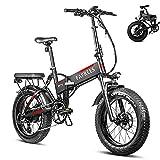 Fafrees 20 Pulgadas Bicicleta Eléctrica Plegable Motor 750W, Shimano 7S, Batería Panasonic 48v 13.6AH, Velocidad Máxima de 45 km/h, Rango Máximo de 90 km, Bicicleta de Montaña para Adultos
